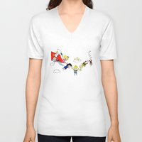 peanuts V-neck T-shirts featuring Peanuts Gang by Dada16808