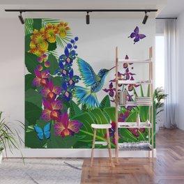 Tropical Hummingbird Pattern 1 Wall Mural
