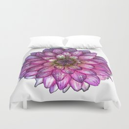 Dahlia Purple & White with water droplets Duvet Cover