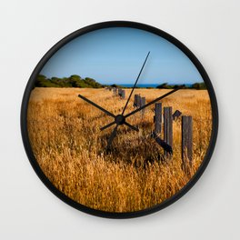 Golden Field By The Sea Wall Clock