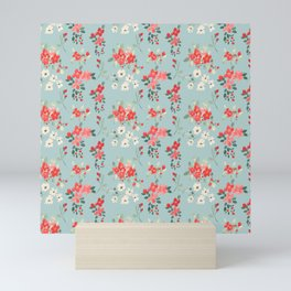 Ditsy Pink and White Floral Pattern Mini Art Print