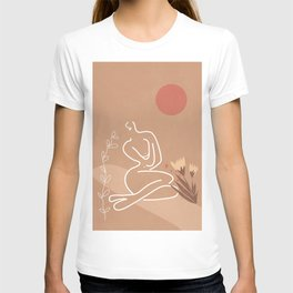 Woman in Nature Illustration T-shirt