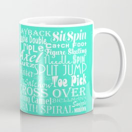 Mint Figure Skating Subway Style Typographic Design Coffee Mug