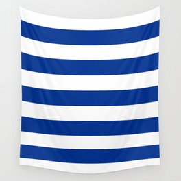 Air Force blue (USAF) -  solid color - white stripes pattern Wall Tapestry