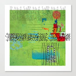 Red and Green Abstract Art Collage Canvas Print