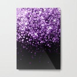 Dark Night Purple Black Glitter #1 (Faux Glitter) #shiny #decor #art #society6 Metal Print