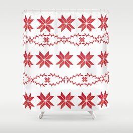 Scandinavian inspired print with red mini stars Shower Curtain