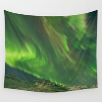 northern lights Wall Tapestries featuring Northern Lights by From Flora With Love