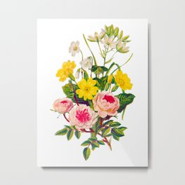Three Pink Roses with Yellow Flowers Flower Bouquet, Original Aquatint Watercolor PNG 5 Metal Print