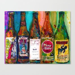 Zombie Dust, Dead Man Ale, Lunch, PlinytheEdler, Cantillion Combo Fancy Beer Man Cave Canvas Print
