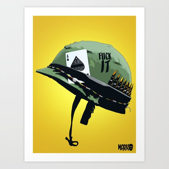 Vietnam War Helmet Art Print By Marko Sejat