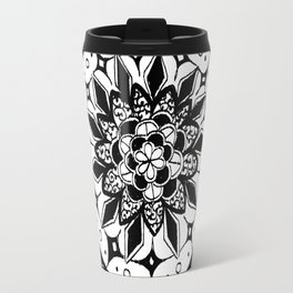 Rounded Rose Petal Black and White Hand-Drawn Mandala Travel Mug