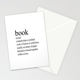 Book Definition (Black on White) Stationery Cards