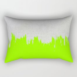 Brushstroke on Concrete - Neon Green Rectangular Pillow
