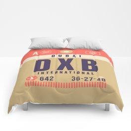 Retro Airline Luggage Tag - DXB Dubai UAE Comforters