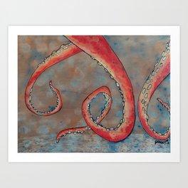 """Oscar the Octopus"" 3/3 - Hand Painted on Wood Art Print"