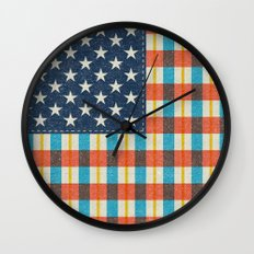 Plaid Flag. Wall Clock