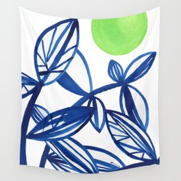 Navy blue and lime green abstract leaves Wall Tapestry
