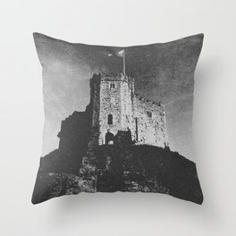 Cardiff Castle Keep Black and White-Wales #photography Throw Pillow