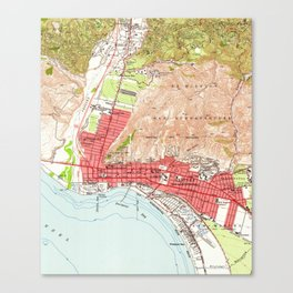 Vintage Map of Ventura California (1951) Canvas Print