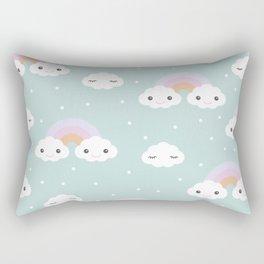 Kawaii breeze summer rainbow clouds blue sky Rectangular Pillow