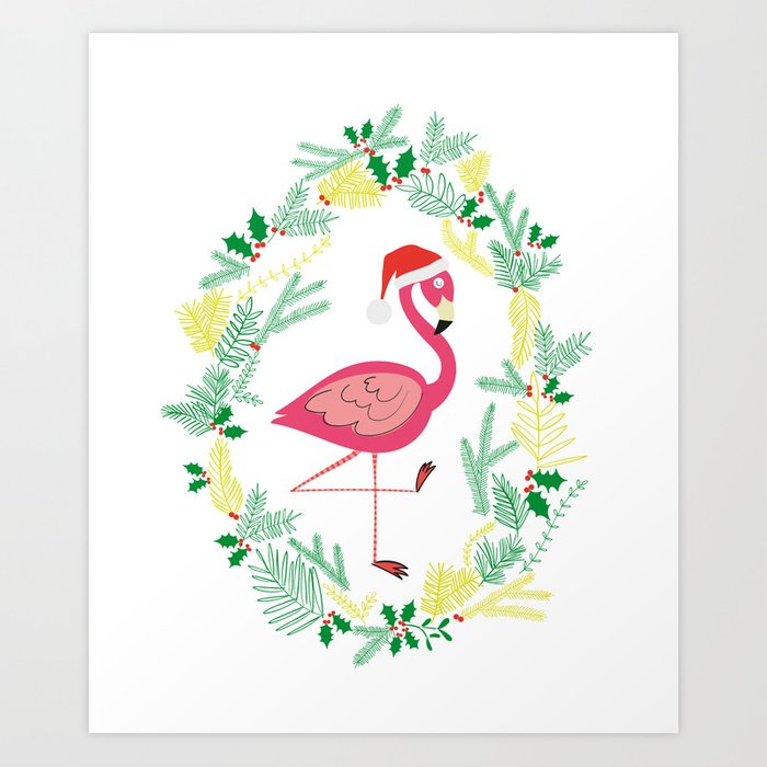 flamingo christmas wreath art print - Flamingo Christmas