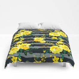 Yellow black gray watercolor modern floral stripes Comforters