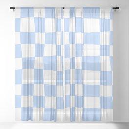 Hand Drawn Checkerboard Pattern (sky blue/white) Sheer Curtain