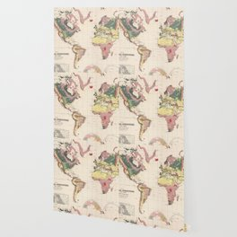 Vintage Geological Map of The World (1856) Wallpaper