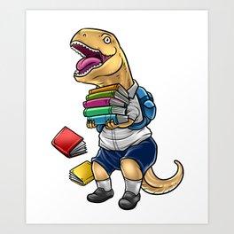 Funny Tyrannosaurus Rex With Books | School Art Print