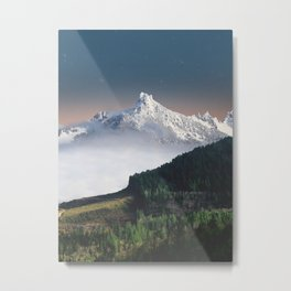 Fairytale Landscape Snow Capped Mountain Lush Green Forest Metal Print