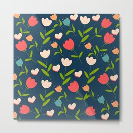flowers and hearts pattern Metal Print
