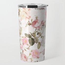 Vintage & Shabby Chic - Blush Roses and Fern Leaf Travel Mug
