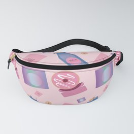pink purple blue drinks and food pattern Fanny Pack