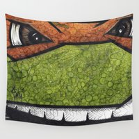 ninja turtles Wall Tapestries featuring Michaelangelo (Teenage Mutant Ninja Turtles) by chris panila