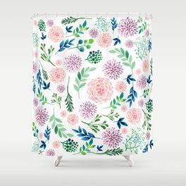 Watercolour Flowers and Nature Shower Curtain
