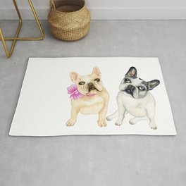 French Bulldogs adorable head tilt fawn and black and white frenchies must have gift for pet lovers Rug