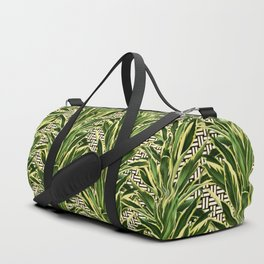 Palms on Stitch Pattern - Black White Gold Duffle Bag