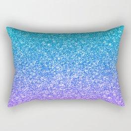 Purple and Emerald Green Gradient Glitter Print Rectangular Pillow