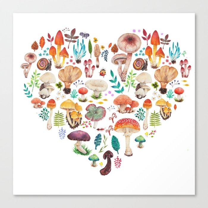 Mushroom heart Leinwanddruck