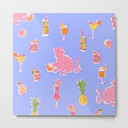 Cocktail Monkey purple Metal Print
