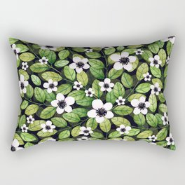 Watercolor Cherry Leaf and Flower Pattern Rectangular Pillow