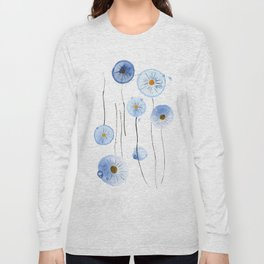 blue abstract dandelion 2 Long Sleeve T-shirt