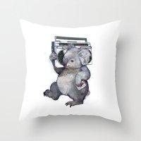 koala Throw Pillows featuring koala  by Laura Graves