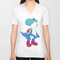yoshi V-neck T-shirts featuring Yoshi Blue by bloozen