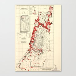 Map of Palestine Index to Villages & Settlements 1940's Canvas Print