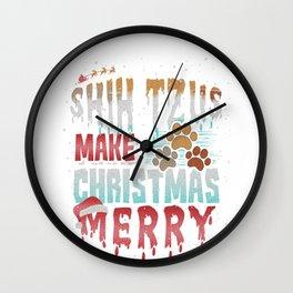 Christmas Dog Shih Tzus Make Christmas Merry Wall Clock