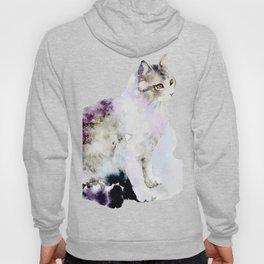 Watercolor Cat Painting Hoody