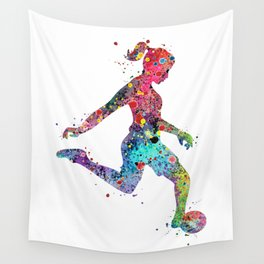 Girl Soccer Player Watercolor Print Sports Print Soccer Player Poster Wall Tapestry
