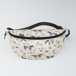 Horses and Flowers, Sunrise Floral, Cream, Horse Print, Horse Illustration, Pink and Yellow, Equestrian, Little Girls Fanny Pack